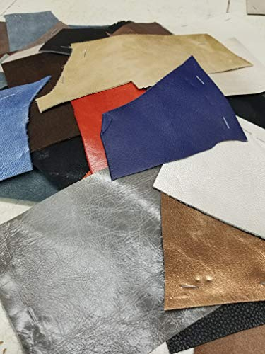 NAT Leathers Scrap 2-3 lbs. of remnants Trimming Cow Sheep Hide Shoe Handbag Upholstery Multi Colors Embossed Metallic Leathers in 2.5-3.0 oz 1.2-1.4 mm About 2 to 3 Pound Leather Skin (2-3 lbs) ()
