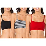 Fruit of the Loom Women's Cotton Pullover Sport Bra (Pack of 3), Skinny Stripe/Black/Red Hot, 40