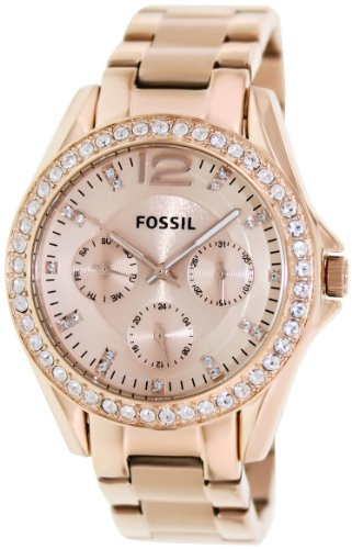 Fossil Women's Riley Quartz Stainless Steel Dress Watch, Color: Rose Gold-Tone (Model: (Fossil Womens Crystal Watch)