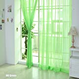 TR.OD Window Curtain Bright Candy Color Floral Voile Curtain Beautiful House Decor Door Window Curtain Panel Sheer Valances Scarf Green