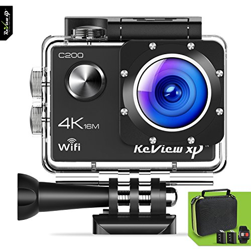 Review XP C200 Action Camera 4K 16MP Ultra HD Sports Waterproof Wi-Fi 170° Wide Angle Lens Underwater DV Digital Camcorder 2.4g Remote Control plus 2 Batteries 1050mAh, Mounting Kits, Carrying (Mega Accessory Bundle)