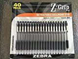 Zebra Z-Grip Retractable Ballpoint Pen 1.0mm Point Size Black Ink 40 Pack; Mini Composition Journal Included (Color & Patterns of the Journal may vary)