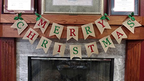 Seasons Treasure 10ft Handmade Merry Christmas Decoration Burlap Banner Garland with 4Ft Merry +6Ft Christmas Banner for Christmas Party Decor (Merry Christmas)