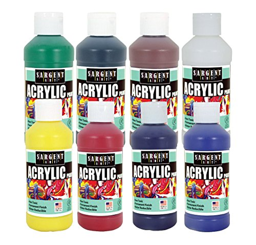 Sargent Art 8 Count 8 oz Acrylic Paint Set with 8 Acrylic Medium 8 Oz Bottle