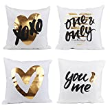 Molotu Square Cushion Cover Bronzing XOXO Heart Home Decorate Pillow Case Valentine's Gift 18''×18'',pack of 4)