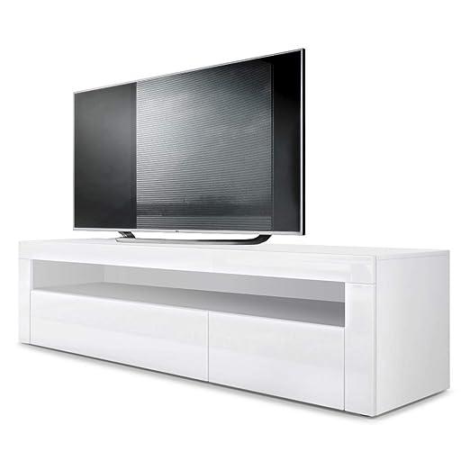 Mesa Baja para TV Valencia, Cuerpo en Blanco Mate/Frente en Blanco de Alto Brillo con Marco en Blanco de Alto Brillo
