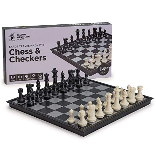 Yellow Mountain Imports 2 in 1 Travel Magnetic Chess and Checkers Game Set, 14 Inches