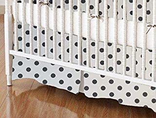 product image for SheetWorld 100% Cotton Percale Crib Skirt 28 x 52, Grey Polka Dots, Made in USA