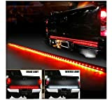 "E-cowlboy 60"" Inch Red / White Tailgate LED Strip Light Turn Signal Stop Brake Reverse Lights Fit 1999-2015 Dodge Ram 1500 2500 3500 4500 5500 Chevrolet Chevy Silverado Avalanche Cadillac Truck SUV"