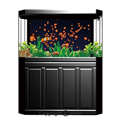 "Terrarium Fish Tank Background,Lantern,PingXi District Festival at Night Taipei Taiwan Good Vibes Hope for Future,Night Blue Orange,Photography Backdrop for Pictures Party Decoration,W48.03""xH18.11"""