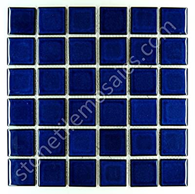 "Vogue Premium Quality 2"" Cobalt Blue Porcelain Square Mosaic Tile Shiny Look Designed In Italy (12x12) from Vogue Tile"