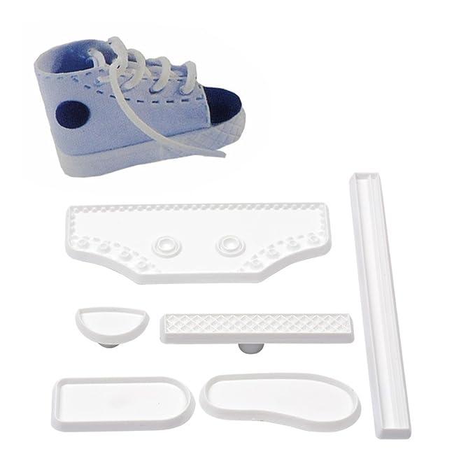 Ckeyin® Bricolaje 6pzas molde para tarta en forma de zapato Herramientas para fondant zapatilla de bebé blanca Herramienta para hornear fondant: Amazon.es: ...