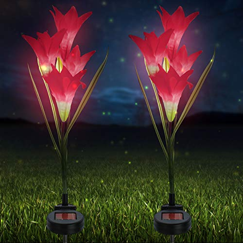Sorbus LED Flower Light Lily Stakes, 2 Pack Solar Multi-color Changing 8 LED Outdoor Garden Flowers, for Lawn, Garden, Patio, Night Lighting, Path Walkway, Gravestones, Wedding, (2 Red Color Changing)