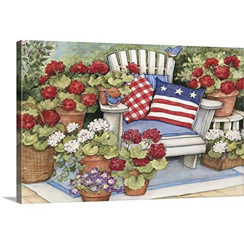 Geraniums on Porch Canvas Wall Art Print, 36