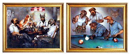 Dogs Playing Pool Dan And Dogs Playing Poker Cards Two Set Golden Framed Funny Animal Wall Decor Art Print Poster Picture (8x10) Dogs Playing Cards Picture