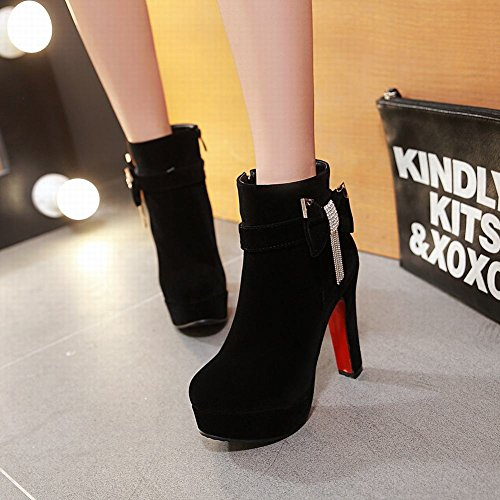 Carolbar Dames Plus Size Zip Steentjes Strikken Platform Hoge Hak Korte Laarzen Zwart