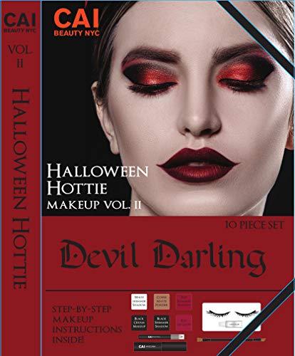 Halloween Lady Devil Makeup (10-Piece Makeup Set Halloween Hottie Costume FX Face Paint Make Up Kit for Adults, Devil)