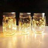 Aobik Solar Mason Jar Hanging Lights,4 Pack 20 LEDs (Mason Jar & Hanger Included) Warm White Waterproof Fairy Firefly Led String Mason Jar Lights,Best for Wedding Garden Patio Outdoor Solar Lanterns