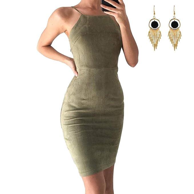 new product 239a0 b1825 Lylafairy Sexy Vestito Donna Aderente Senza Maniche Abito ...