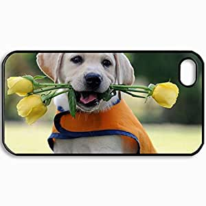 Customized Cellphone Case Back Cover For iPhone 4 4S, Protective Hardshell Case Personalized Dog Puppy Labrador Retriever Flowers Rose Black