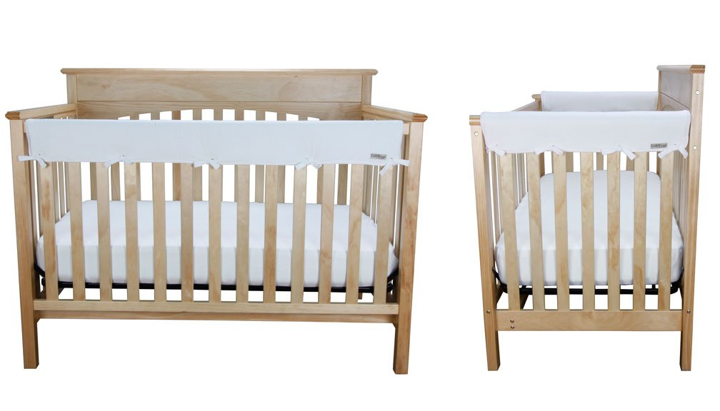 Crib Wrap 3PC Rail Cover Set By Trend Lab - 1- 51'' Front Rail Cover 2- 27'' Side Rail Covers, White Fleece