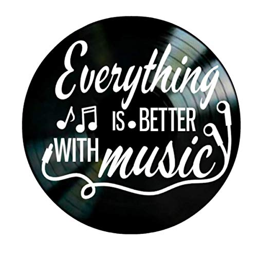 - Everything is Better With Music Quote on a Vinyl Record Album Wall Art Gift