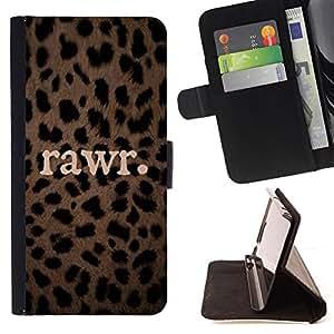 Ihec-Tech / Negro Flip PU Cuero Cover Case para Samsung Galaxy Core Prime - Leopard animal modèle de texte