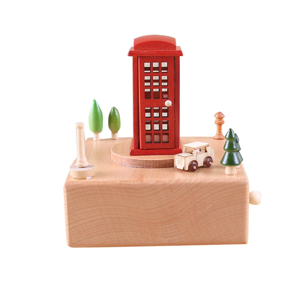 Ocamo Cute Wooden Musical Box Handmade Decorations Delicate Birthday or Xmas Gifts for Kids & Friends telephone booth; Sky City
