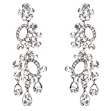 ACCESSORIESFOREVER Women Bridal Wedding Jewelry Crystal Rhinestone Sparkling Dangle Earrings E792 Silver
