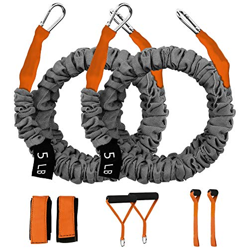 Workout Resistance Bands, Resistance Cords for Shoulder Exercise Comes with 2 Same Weight Resistance Tubes, Handles - Ankle Straps - Door Anchor - Carry Bag(Orange-5lbs)
