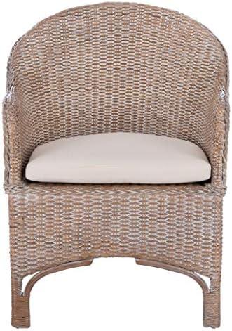 Safavieh Home Antonia Coastal Grey White Wash Rattan Cushion Accent Chair