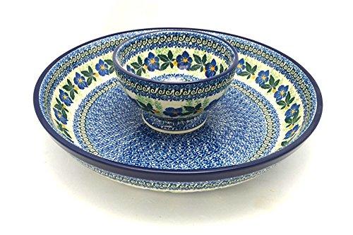 Polish Pottery Chip & Dip Set - Blue Pansy