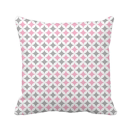 Awowee Throw Pillow Cover Pink Girl Pastel Cathedral Window Pattern Gray Patchwork Abstract 18x18 Inches Pillowcase Home Decorative Square Pillow Case Cushion Cover