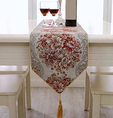 Deco Dining Table (ZebraSmile Luxury Jacquard Red Table Runners with Tassels For Dining Table Decoration Home Dining Polyester Table Runners 82 Inches Red for Coffee Table Dresser Long)