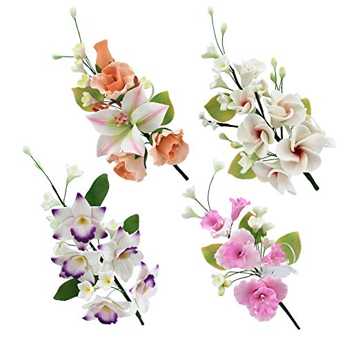 Global Sugar Art Assorted Large Sugar Cake Flowers Floral Sprays, Set D, 4 Count by Chef Alan Tetreault