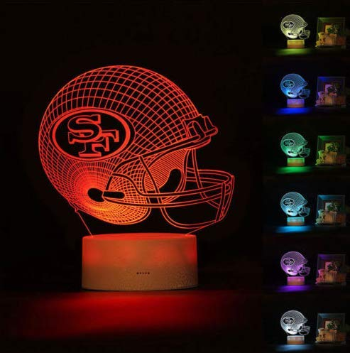 - Football Helmet Light - Touch Control Football Team Light Lamp- 7 Color Changing Touch Light Lit Base - Night Light for Boys Men Women for Football Sports Lovers (San Francisco 49ers)