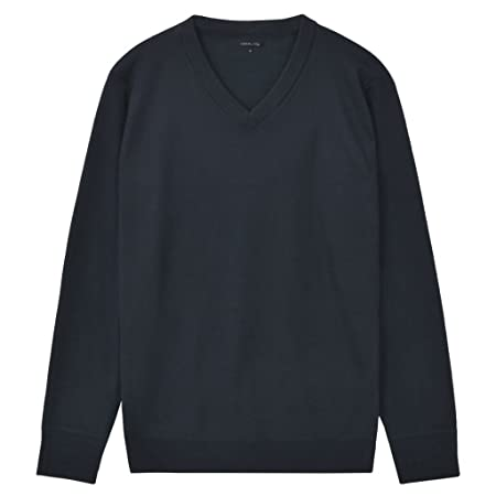 b6d6cd219688e Festnight Men s Pullover Sweater Classic Plain Sweatshirts Jumper with V- Neck - Navy Polyester XL