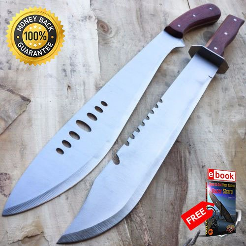 2 PC 20'' FULL TANG RAMBO TACTICAL SURVIVAL HUNTING CAMPING KNIFE FIXED BLADE SET For Hunting Tactical Camping Cosplay + eBOOK by MOON KNIVES ()