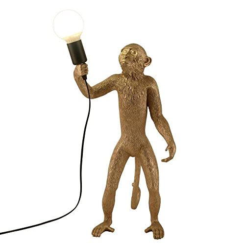CLFINE Modern Table Light, Monkey Desk Lamp, Resin Standing Monkey Lighting for Living Room, Bedroom, Office, College Dorm Gold