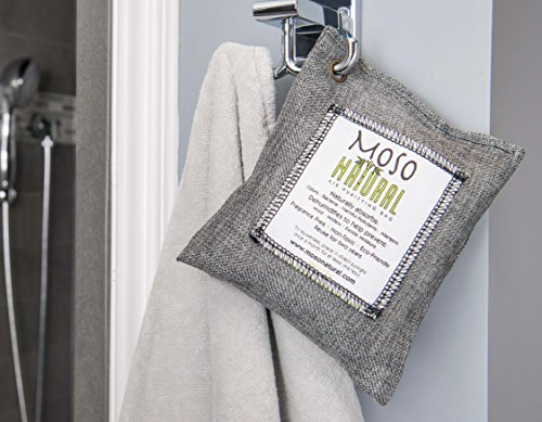 Moso Natural Air Purifying Bag. Odor Eliminator for Cars, Closets, Bathrooms and Pet Areas. Charcoal Color, 200-G, 4 Pack