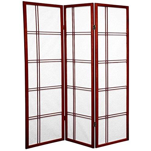 Oriental Furniture 5 ft. Tall Double Cross Shoji Screen - Rosewood - 3 Panels