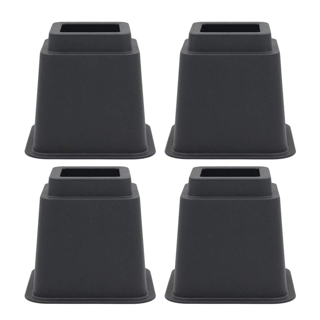 Sharplace 4 pcs Elevadores Multi Alta Accesorios de Cama Hogar Cocina - Negro 3 Pulgadas