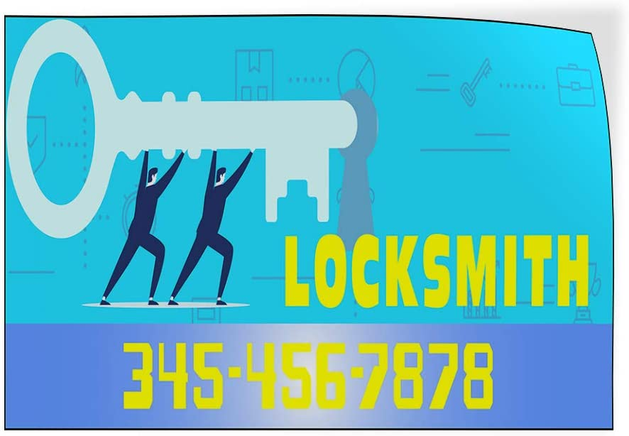 Custom Door Decals Vinyl Stickers Multiple Sizes Locksmith Phone Number Key Business Locksmith Outdoor Luggage /& Bumper Stickers for Cars Blue 69X46Inches 1 Sticker
