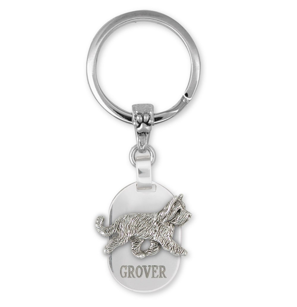 Briard Key Ring Jewelry Sterling Silver Handmade Dog Key Ring BRD2X-KRE