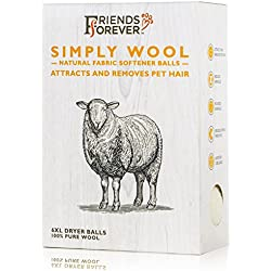 Friends Forever Wool Dryer Balls 6-Pack XL Size - Premium Reusable Natural Fabric Softener Balls, Pet Fur Hair Remover