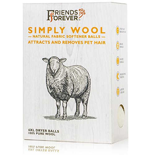 Friends Forever Wool Dryer Balls 6-Pack XL Size - Premium Reusable Natural Fabric Softener Balls, Pet Fur Hair Remover by Friends Forever