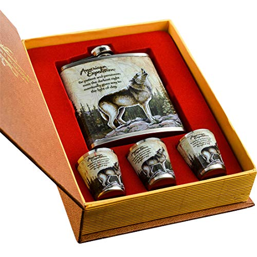 Shenglin Mini Wolf Forest Pattern Stainless Steel Hip Flask Set 7 ()