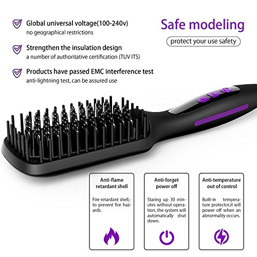 Ionic Hair Straightener Brush, GLAMFIELDS Electrical Heated Irons Hair Straightening with Faster Heating, MCH Ceramic Technology, Auto Temperature Lock, Anti Scald, Heat Resistant Glove by GLAMFIELDS (Image #8)