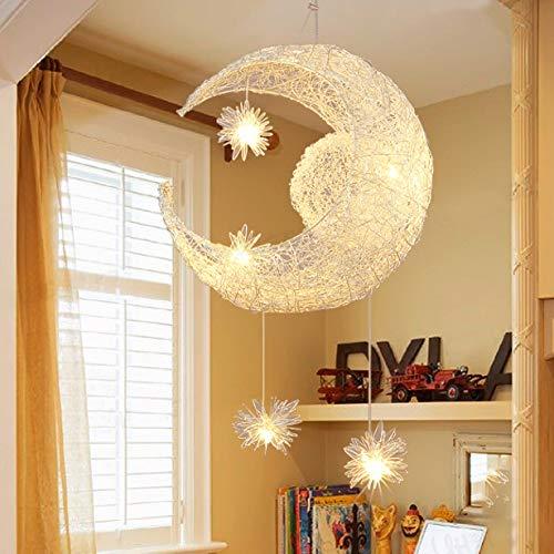 JIANGXIN クリエイティブ LED ペンダント シャンデリア シーリングライト 月 星 妖精 子供 寝室 デコレーション ライト 女の子部屋 バルコニー 寝室 リビングルーム (温白色ライト) B07H7CL2VJ