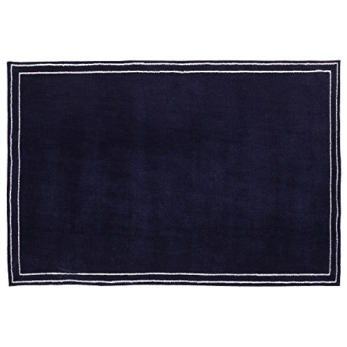 Rug Floor Covering White - Little Love by NoJo Plush Nursery Rug, Navy with Border, 3'9